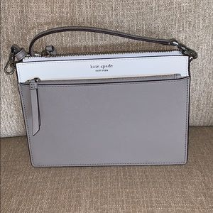 Zip crossbody Kate Spade, soft taupe/soft white